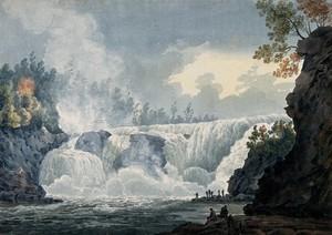 view Chaudières Falls, Quebec. Watercolour attributed to Thomas Bateman.