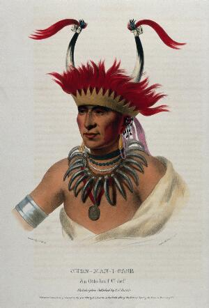 view Shaumonekusse, a chief of the Oto (Otoe) tribe, wearing a crown hair piece with horns, a bear-claw necklace and a medallion. Coloured lithograph by Lehman & Duval after C. B. King, 1833.