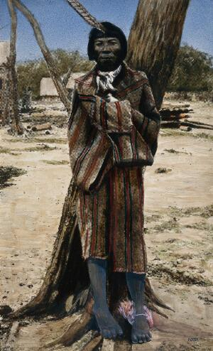 view Gran Chaco, South America: a medicine man of the Lengua Indians. Coloured photograph, ca. 1913.