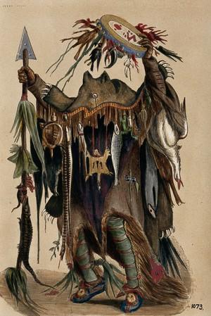 view A Blackfoot Indian medicine man. Coloured photograph, ca. 1913.