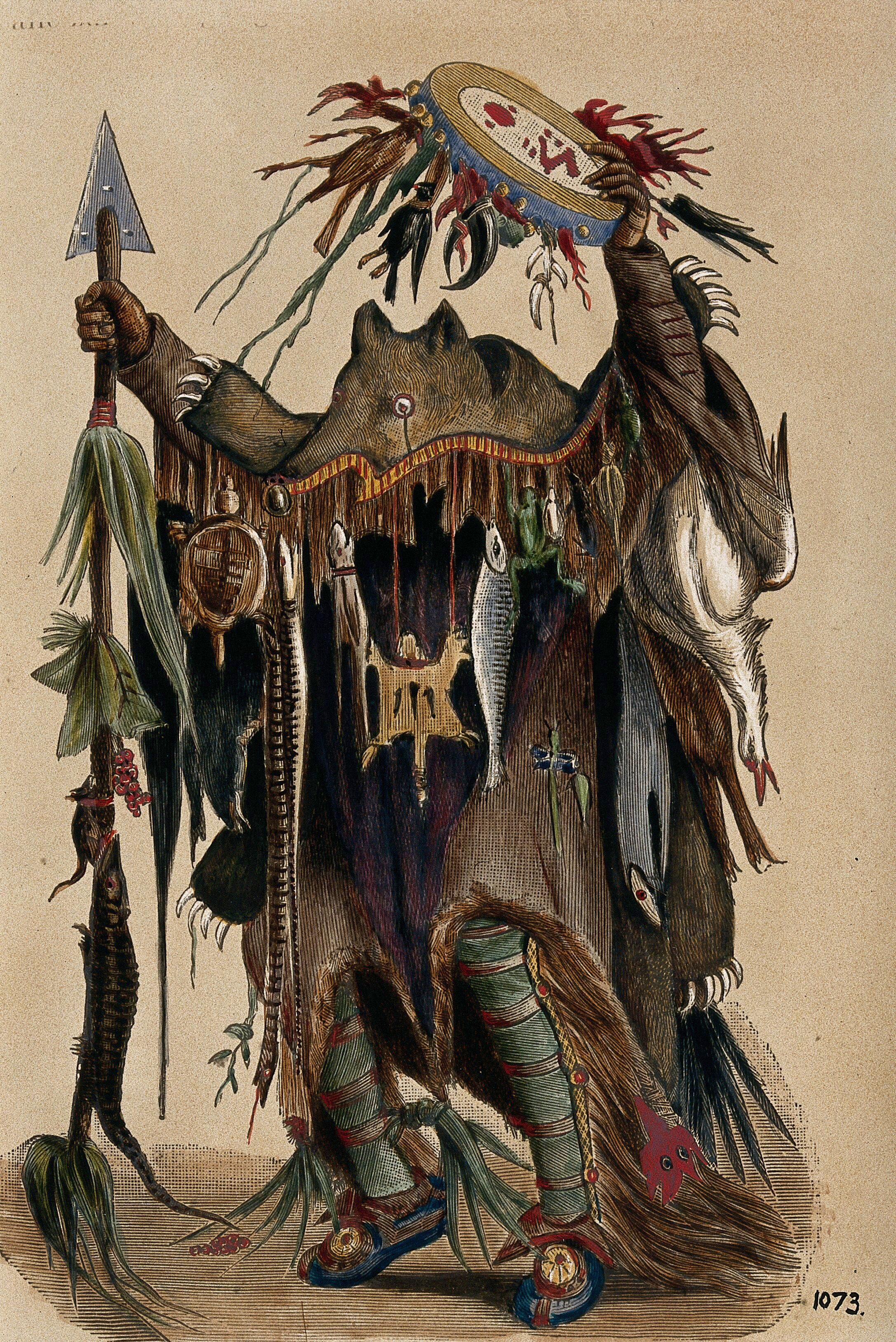 A Blackfoot Indian medicine man  Coloured photograph, ca