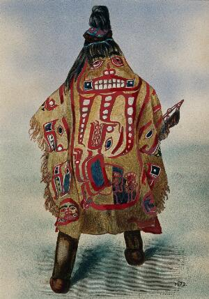 view An Ahtena Indian medicine man of Alaska. Coloured photograph, ca. 1913.