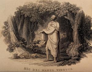 view Galen, standing in a glade, looks at a human skeleton on the ground. Engraving by H.F. Rose, 1820.