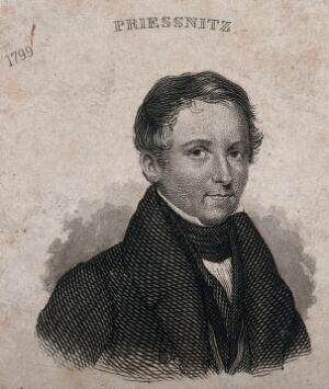 view Vincenz Priessnitz, head and shoulders. Engraving.