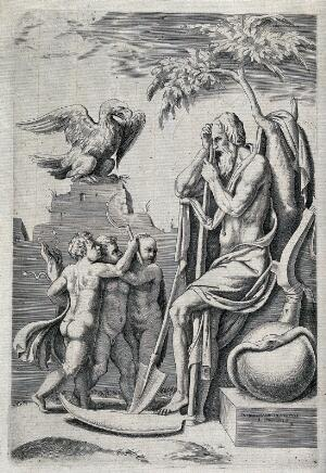 view Saturn, seated right, is threatened by his three children Jupiter, Neptune and Pluto. Engraving by G. Bonasone after G. Romano, ca. 1560.