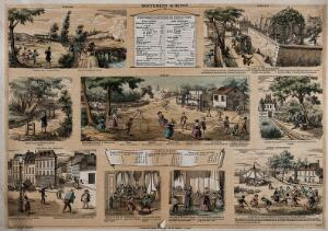 view Nine demonstrations of speed, inertia and gravity. Lithograph by Bethmont after himself, ca. 1860.
