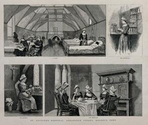 view Scenes of nurses at St Saviour's Hospital, Regent's Park, London. Wood engraving, 1886.