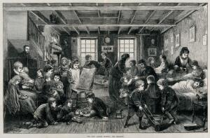 view Children at play in the East London Hospital for Children. Wood engraving by J. Swain after G.W. Ridley, 1872.