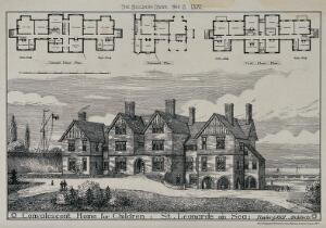 view Convalescent home for children, St. Leonards: perspective view. Wood engraving, 1881.