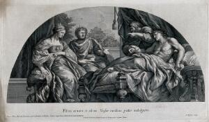 view Antiochus is reclining on a bed while his physician Erasistratus is taking his pulse; King Seleucus and Queen Stratonice are seated at his bedside. Engraving by J. de Visscher after P. Berrettini da Cortona, ca. 1690.