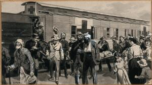 view Boer War: wounded men are getting off a train. Watercolour by G. Soper, ca. 1900.
