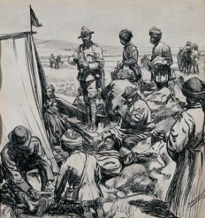view British medical officers attending wounded Tibetans after a fight. Ink drawing by D. Macpherson, 1904.