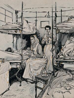 view Two nurses with patients lying in bunk beds, on a Russian ambulance train. Ink drawing, 1904.