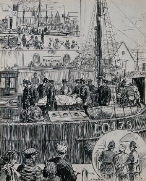 view Russo-Japanese war: arrival of a hospital ship. Ink drawing by A. Kemp Tebby, 1904.