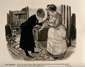 view A doctor is examining a woman's arm. Colour lithograph after F. Jüttner, 1909.