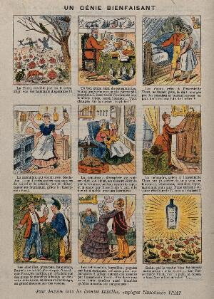 view Nine vignettes advertising uses of Insecticide Vicat. Colour line block, ca. 1880.