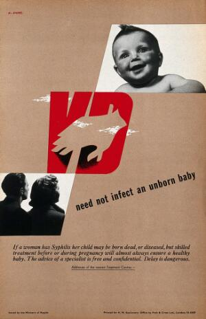 view Prevention of venereal diseases; showing a baby, a man and a woman. Colour lithograph by A. Games, ca. 1950.