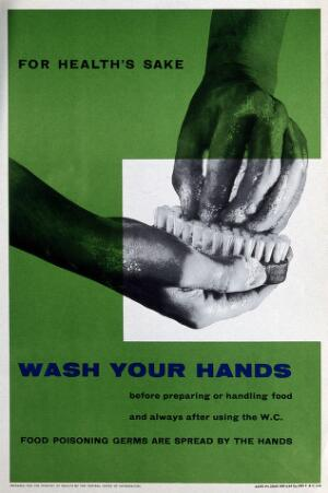 view The regular washing of hands. Lithograph, ca. 1960.