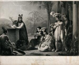 view An Inca priest makes a sacrifice to the sun; representing the continent of America. Stipple engraving by J.D. Nargeot after C.A. Chasselat.