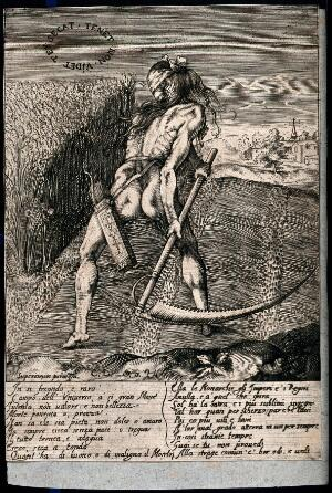 view A blindfolded naked man is mowing a field with his scythe; representing the mercilessness of death. Engraving.