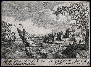 view A ship leaving the harbour in stormy weather, above it the zodiacal sign of Pisces (Fish); representing the month February. Etching after I. Velde.
