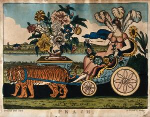 view An allegorical female decorated with flower garlands and the feathers of the Prince of Wales is sitting in a chariot drawn by tigers; representing peace. Coloured etching.