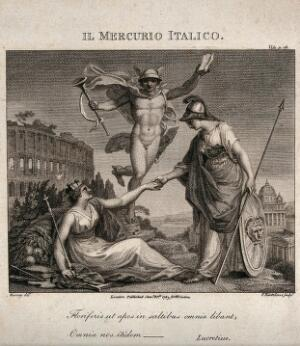 view Minerva, as goddess of the arts, shaking hands with Italia; behind them Mercury, the messenger god. Engraving by F. Bartolozzi, 1789, after Burney.