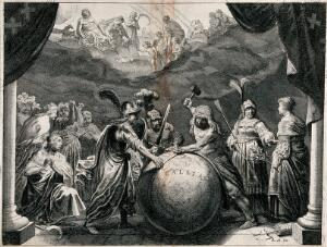 "view A Gallic druid is using a mallet to remove a ring which hemmed in a globe inscribed ""Gaul""; he is assisted by two Roman soldiers and surrounded by female allegorical figures, a sickle and fasces, while the Olympian gods look on from above; representing the opening of Gaul to the Roman Empire. Etching."