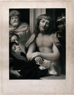 view Christ wearing the crown of thorns is presented by Pilate to the Jews. Engraving by G.T. Doo, 1850, after A. Allegri, il Correggio.
