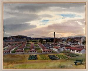 view World War I: Scottish National Red Cross Hospital, Bellahouston, Glasgow. Watercolour by Walter Spradbery.