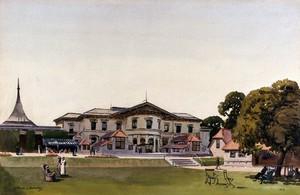 view World War I: St Dunstan's hostel for the blind, Regents Park, London. Watercolour by Walter Spradbery, 1919.