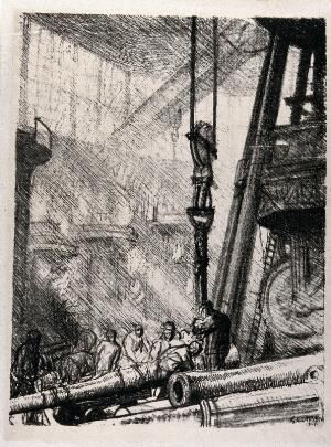 view Royal Gun Factory, Woolwich Arsenal, London: workers in the factory lifting a metal gun barrel with a crane. Lithograph by G. Clausen, 1917.
