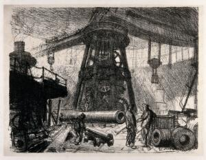view Royal Gun Factory, Woolwich Arsenal, London: a radial overhead crane for carrying heavy artillery pieces in different sectors of the factory. Lithograph by G. Clausen, 1917.