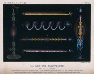 view Electrical light in rarefied gas. Aquatint by M. Rapine, ca. 1880.