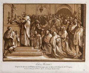 view The Mass. Colour mixed media print by the Comte de Caylus and N. Le Sueur after Polidoro da Caravaggio.
