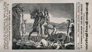 view A monster representing the harm alleged to be done by the Roman Catholic church. Wood engraving.