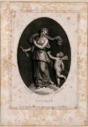 view Euterpe. Stipple engraving by P. Bettelini after G.B. Cipriani.