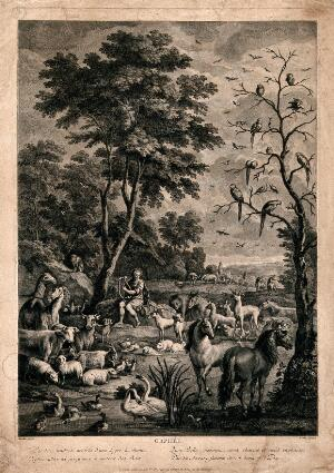 view Orpheus charming the animals with music. Engraving by J.P. Le Bas after A. Hondius.