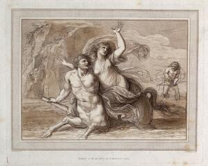 view The centaur Nessus carrying off Deianeira. Etching with aquatint by F. Bartolozzi after G.B. Cipriani.