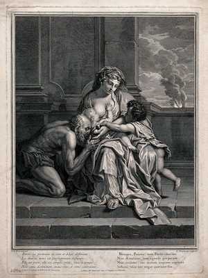 view Charity breastfeeding a baby, a child and an elderly man by her side. Engraving by L. Desplaces after C. Le Brun, ca. 1720.