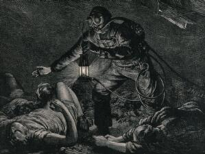 view A man in a mine, using safety apparatus invented by Auguste Denayrouze, finds asphyxiated miners. Wood engraving by J. Nash, 1874.