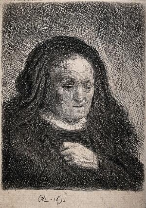 view An old woman wearing a black veil; head and shoulders. Etching by or after Rembrandt van Rijn, 1631.
