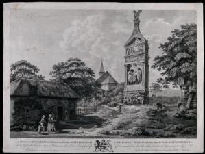 view A Roman tomb at Igel, Luxemburg; people in the foreground, a church in the background. Engraving by E. Rooker after W. Pars, 1774.