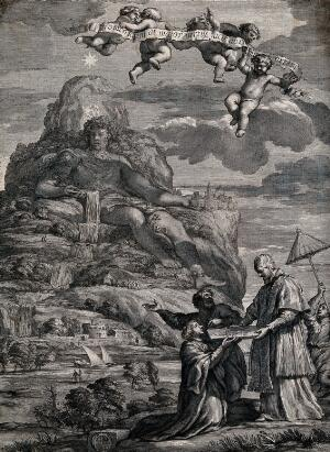 view Cristobal Lozano presents to Pope Alexander VII an engraving of a mountain transformed into a statue of a man. Engraving by F. Spierre after Pietro da Cortona.