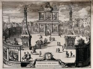 view Triumphal arch, erected in honour of William III of Orange, in the marketplace at The Hague. Etching.