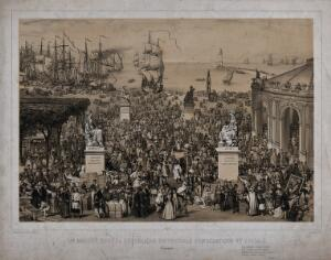 view A festive crowd in a marketplace near a harbour in France in the 2nd. Republic in 1848. Lithograph by M. C. Goldsmid.