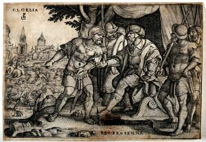 view Horatius fighting off enemy soldiers to allow his soldiers to demolish the Sublician bridge. Engraving by G. Pencz.