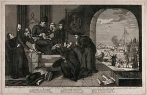 view French Jesuits pleading with their General Deputy in Rome. Etching.