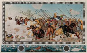 view The battle at Issus in 333 BC: Alexander the Great of Macedonia is chasing the fleeing Darius III. Coloured etching.