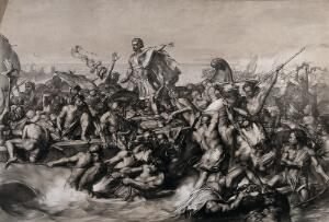 view Caesar's first invasion of Britain: Caesar's boat is pulled to the shore while his soldiers fight the resisting indigenous warriors. Lithograph by W. Linnell after E. Armitage.